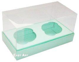 Caixas para 2 Mini Cupcakes - Verde Claro
