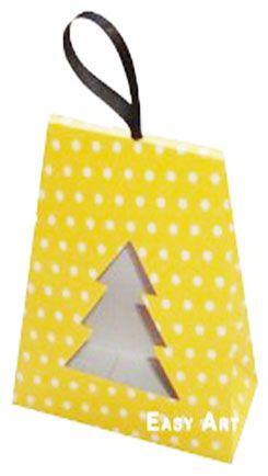 Caixa Árvore de Natal - Amarelo com Poás Brancas