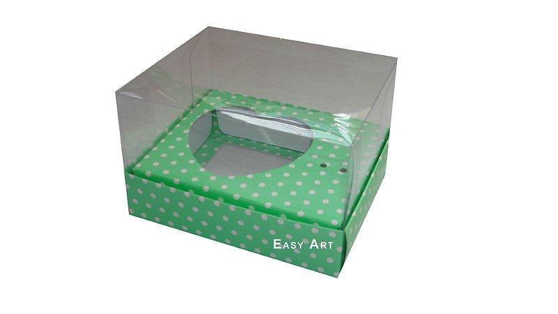 Caixa Coração de Colher - Verde Poa Branca