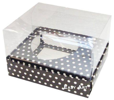 Caixa Coração de Colher / 100g - Preto com Poás Brancas - Pct com 10 Unidades