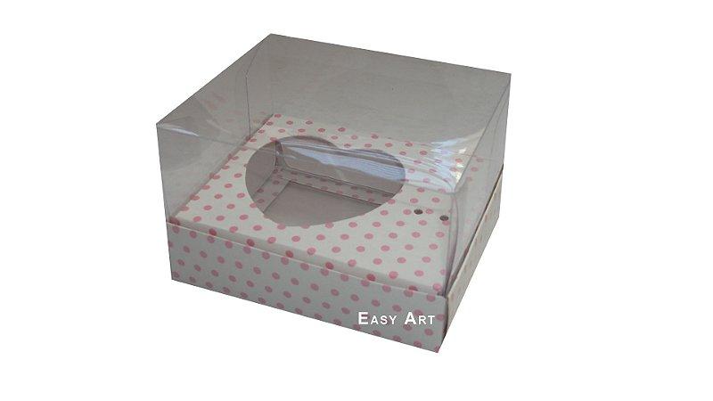 Caixa Coração de Colher - Branco Poa Rosa