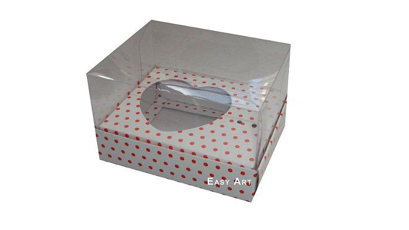 Caixa Coração de Colher - Branco Poa Vermelha