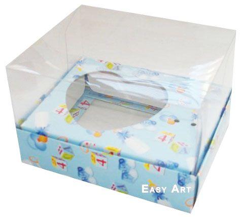 Caixa Coração de Colher / 100g - Estampado Bebê Azul - Pct com 10 Unidades