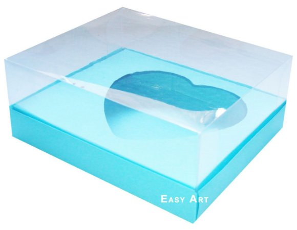Caixa Coração de Colher / 250g - Azul Tiffany - Pct com 10 Unidades
