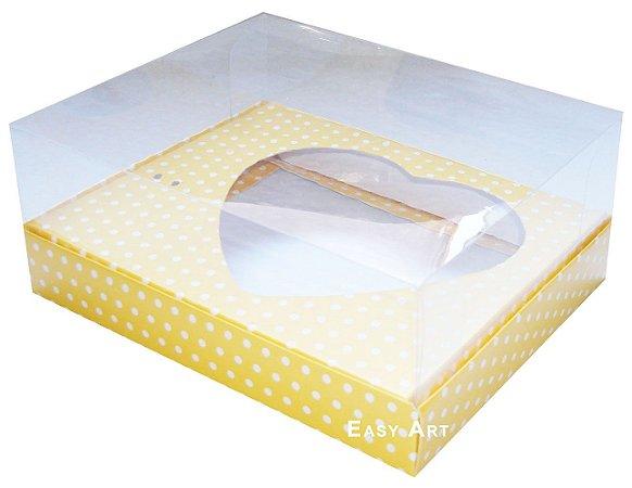 Caixa Coração de Colher / 250g - Amarelo Poá Branca - Pct com 10 Unidades