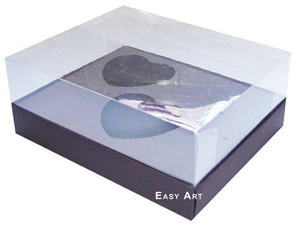 Caixa Coração de Colher 2x de 100g - Marrom Chocolate - Pct com 10 Unidades