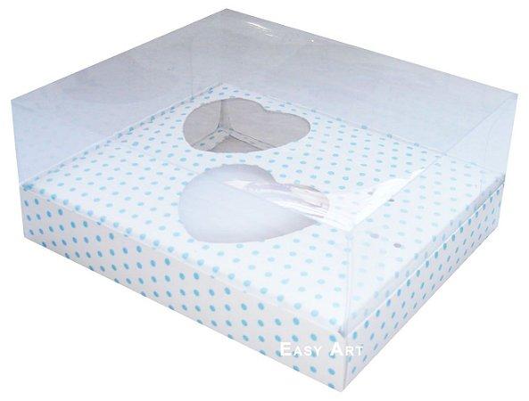Caixa Coração de Colher / 2x 100g - Branco com Poás Azuis - Pct com 10 Unidades