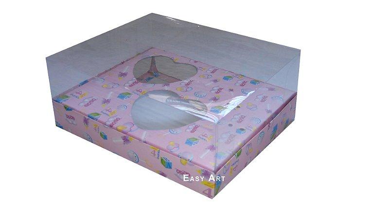 Caixa Coração de Colher - Rosa Bebê Menina