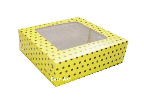 Caixa para 16 Brigadeiros - Amarelo com Poás Marrom
