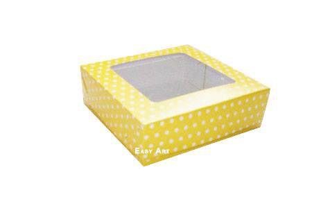 Caixa para 25 Brigadeiros - Amarelo com Poás Brancas