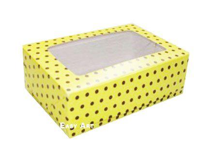 Caixas para 3 Brigadeiros - Amarelo com Poás Marrom
