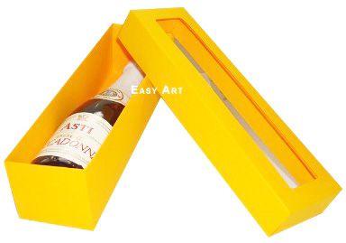 Caixa para Mini Vinho Com Visor - Laranja Claro