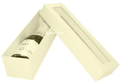 Caixa para Mini Vinho Com Visor - Marfim