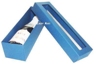 Caixa para Mini Vinho Com Visor - Azul Marinho
