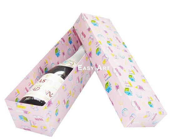 Caixa para Mini Vinho Sem Visor - Estampado Bebê Rosa