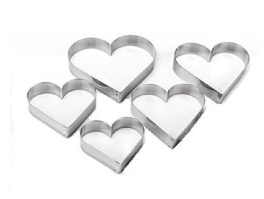 Cortadores Inox - Corações 5 Peças - 5P