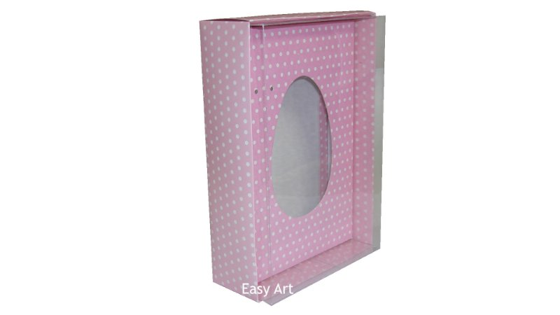 Caixas Ovos de Colher - 500g Rosa Póas Brancas