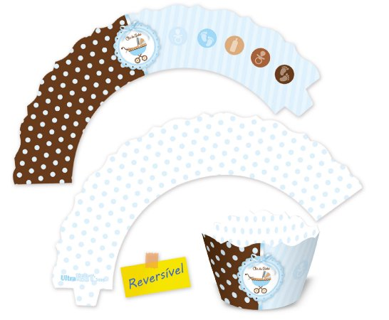 Wrappers para Mini Cupcakes / Chá de Bebê Menino - 6,5x4x3