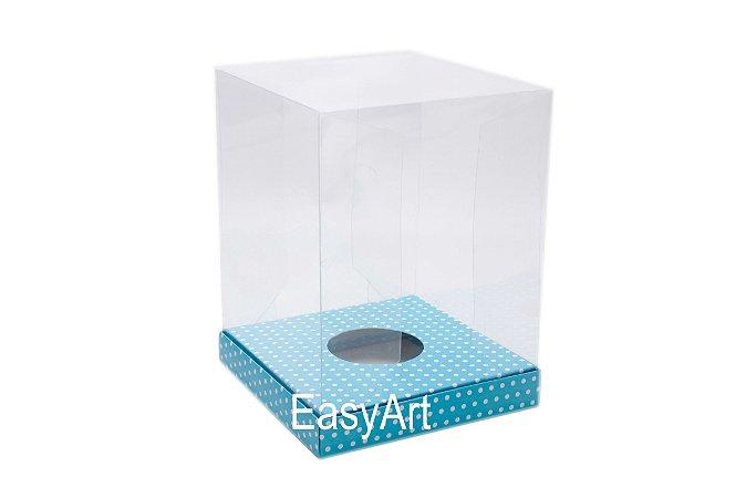Caixa para Ovos de Páscoa de Pé - Azul Poás Brancas