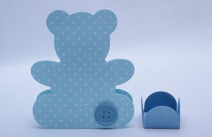 Caixa Ursinho Azul + Forminha - 11,5x10