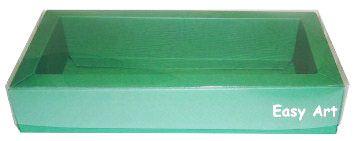 Caixa para 10 Brigadeiros / Tampa Transparente - Verde Bandeira