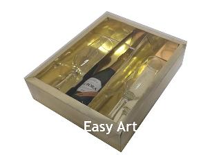 Caixa para Vinho e Duas Taças - 25x20x6,5