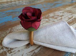Porta Guardanapos  / Flores de Tecido - Botão de Rosa