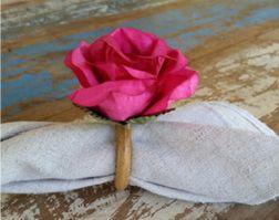 Porta Guardanapos  / Flores de Tecido - Rosa