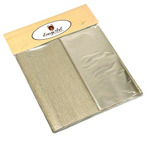 Kit para Bem Casados Listrado Dourado / Branco  - Crepom / Celofane - - 18x18