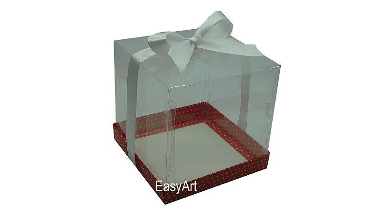Caixa para Mini Bolo 14x14x14 - Vermelho Poa Branca