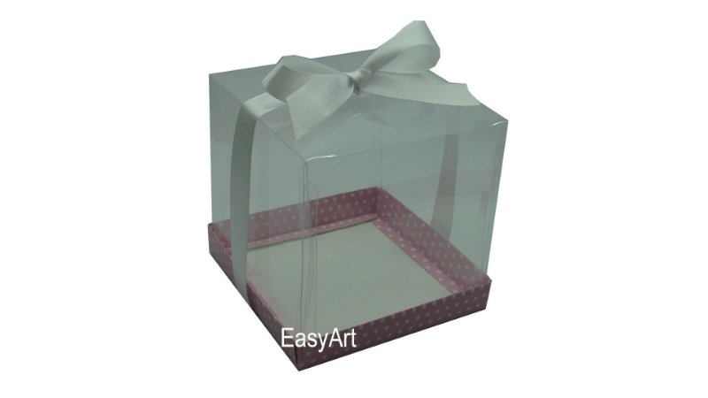 Caixa para Mini Bolo / Panetones 14x14x14 - Rosa Poá Branco