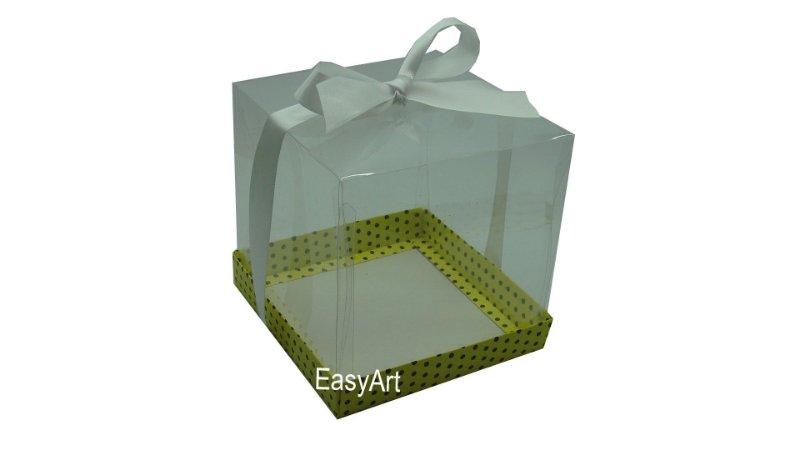 Caixa para Mini Bolo / Panetones 14x14x14 - Amarelo Poa Marrom