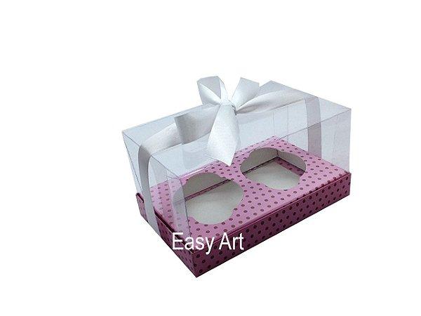 Caixas para Dois Cupcakes - Rosa Poa Marrom