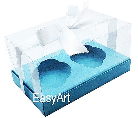 Caixas para 02 Cupcakes - Azul Tiffany
