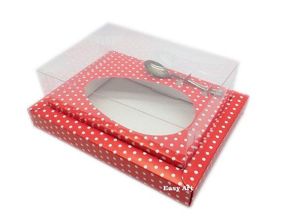 Caixa para Ovos de Colher 250g Vermelho Poás Brancas - Linha Colors