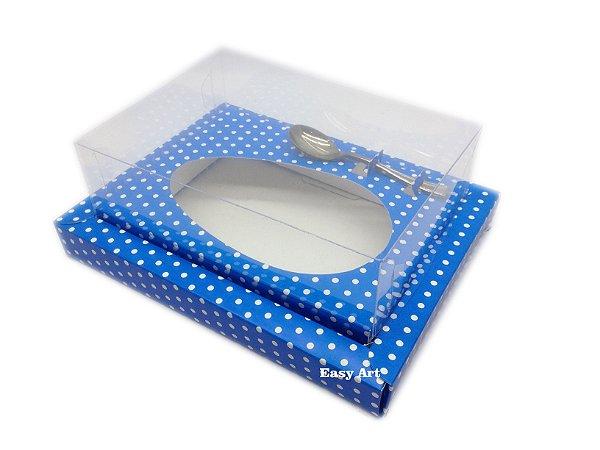Caixa para Ovos de Colher 250g Azul com Poás Brancas - Linha Colors