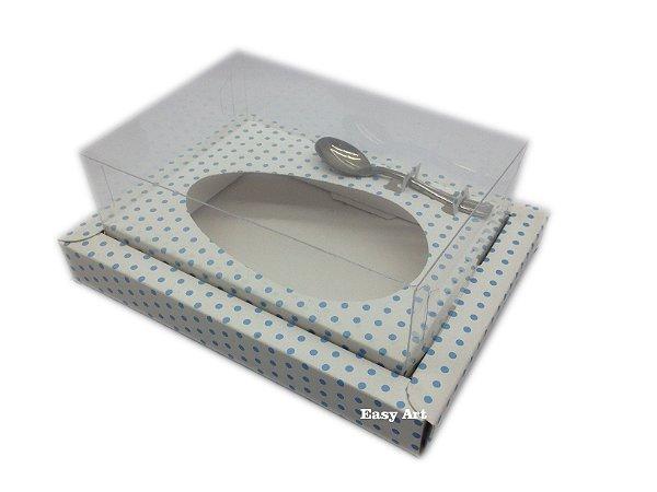Caixa para Ovos de Colher 250g Branco com Poás Azuis - Linha Colors