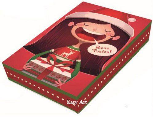 Caixa para 12 Brigadeiros com Berço - Boas Festas Mamãe Noel