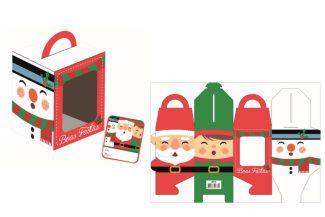 Caixa Mini Panetone / Cupcakes Trio Natal