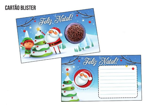 Cartão Blister para 1 Brigadeiro / Bombom - Modelo Árvore de Natal