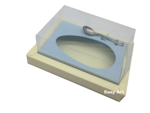 Caixa para Ovos de Colher 250g Marfim / Azul Claro