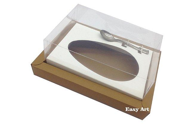 Caixa para Ovos de Colher 250g - Marrom claro / Branco
