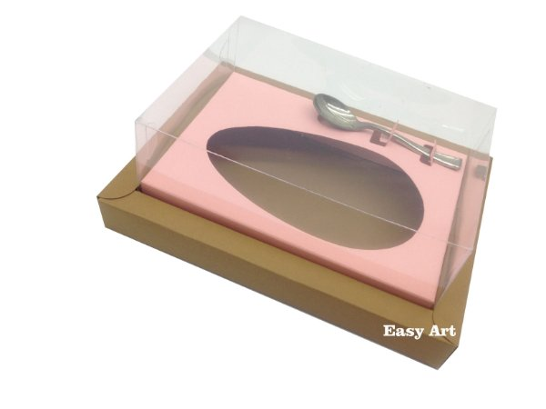 Caixa para Ovos de Colher 250g - Marrom Claro / Salmão