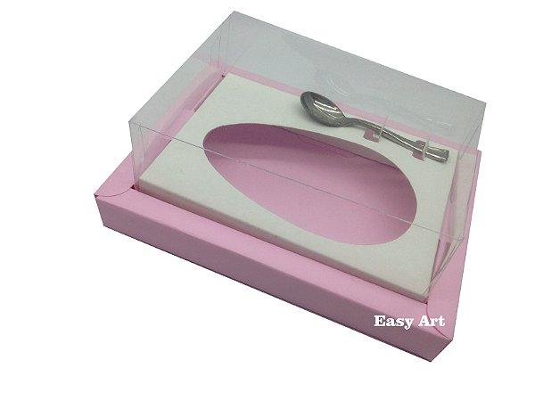 Caixa para Ovos de Colher 250g Rosa Claro / Branco