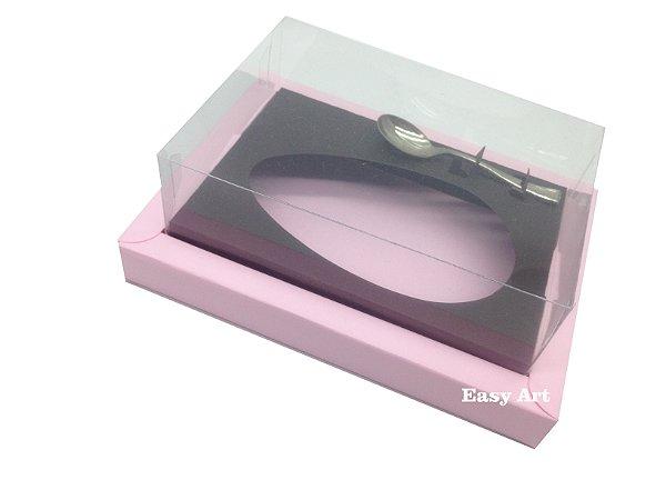 Caixa para Ovos de Colher 250g Rosa Claro / Marrom Chocolate