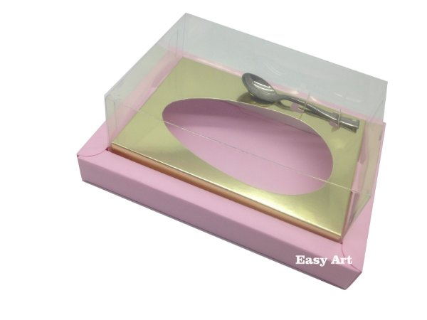 Caixa para Ovos de Colher 250g Rosa Claro / Dourado
