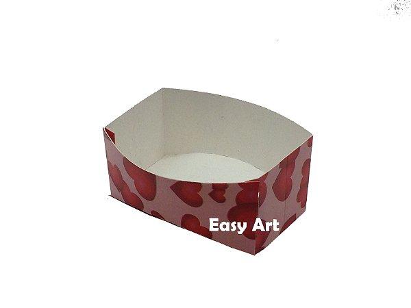 Caixa para Mini Lanches - Rosa Corações Vermelhos / 9x6,5x4