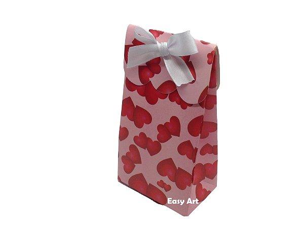 Sacolinha Francesa - Rosa com Corações Vermelhos / 7,5x4,5x13,5