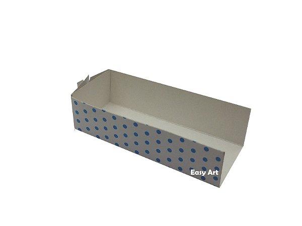 Embalagem para Fudje / Mini Churros - Branco com Poás Azuis