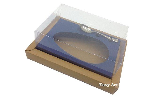Caixa para Ovos de Colher 500g Marrom Claro / Azul Marinho